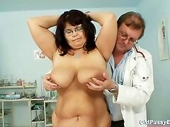 Busty mature woman Daniela knockers and mature beaver gyno exam