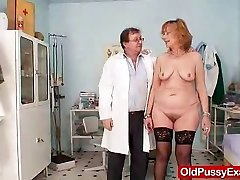 Redhead gran pussy gaping at gynecology clinic