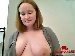 Hefty Knocker Mum Bathroom Striptease