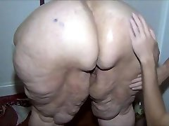 Red-haired SSBBW lubed and washed