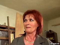 Sandy-haired grandmother loves anal