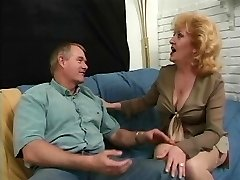 Anal loving redhead mature sexing up bald paramour on couch