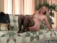 Mom's pantyhosed cooter gets her all warm and horny