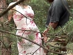 busty stepmother enjoys sex in nature