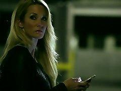 Sassy blonde mom Jessica Drake pokes handsome guy on a parking lot