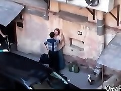 Boy and chubby old mature humping gard on public