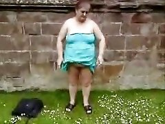 Outdoor exhibition of my obedient old cockslut