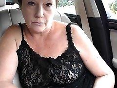 Mature little tit bra-less dare in car