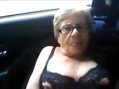 Granny pumps out in van outside