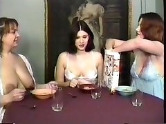Milf maids having a breakfast and drinking milk from their own jugs