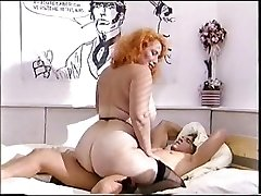 Large ass redhead mature pokes a young cock