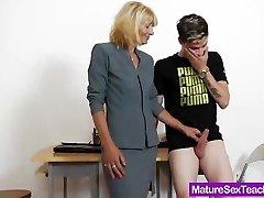 Mom teacher frolicking plus a cock