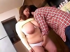 Plumper Asian Mama Groped and Fingered In Kitchen