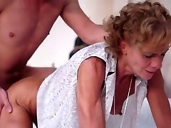 Skinny grandmother fucked by a young dude