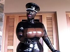 The Busty Latex Uniform Bitch - Blowjob Handjob with Latex Gloves - Jism in my Hatch
