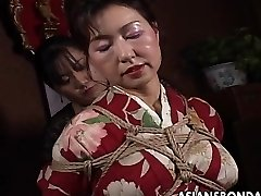 Asian mature floozy has a rope session to endure