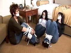 Mother 2 daughters tape gagged