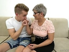 Mature grey haired plump slut with thick rack rides giant strong cock