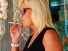 Smoking in daisy dukes and hooker heels