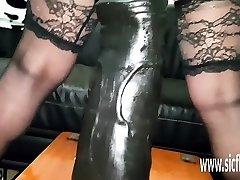 Gargantuan fake penis fucking amateur MILF Sarah