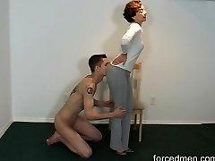 Naked slave licks mistress' gams for idolize