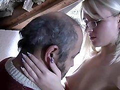 Blond with glasses fucked by senior dude
