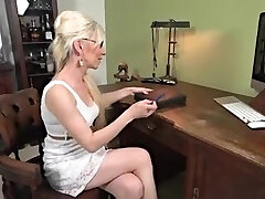 mature blonde solo getting off on a desk