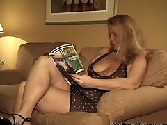 Meaty Big-chested Blonde Granny Takes Two Dicks mature mature porn granny old cumshots cumshot