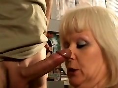 French towheaded mature fucked at the sex shop
