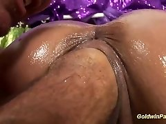 oiled chesty Cougar deep fisting