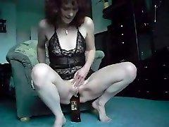 Redhead Mature Bottle Demonstrate