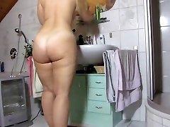 older haveing a nice bath