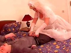 The youthfull groom pummel his mature grown bride!