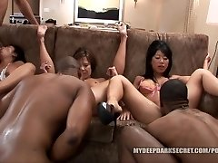 MDDS Tia Ling and Becky Squirts BIG BLACK COCK Multiracial Orgy