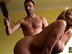 Bigtitted mature slave woman spanked and fucked