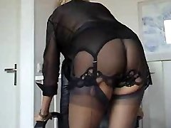 Aged hottie on lingerie