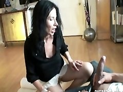 Skinny mommy is cleaning and my dick gets hard