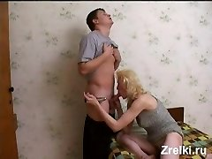 Mature busty skinny milf was fucked by neighbor young fellow