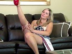 Amazing amateur mature mom on leather sofa