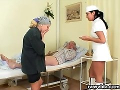 Super-naughty Hot Nurse Helps Elder Patient To Get Laid
