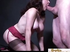 Busty cougar in stockings prefers it rear end style