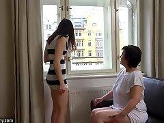 OldNanny Sexy girl masturbate hairy grandma vag
