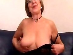 Granny in Glasses Toys and Sucks Hard-on