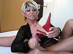 Old Honey With Big Tits Wants Cum on her Feet