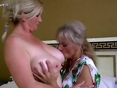 Four old and young lesbians having exclusive party