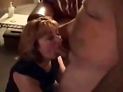 Horny housewife deepthroats hubby's thick chisel friend