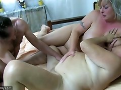 OldNanny Granny and mature stroked unshaved pussy