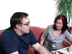 German Mom Helps Her Ugly Step-Son with First Fuck