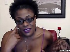 Ebony senior mistress Laveaux with a fat hairy coochie