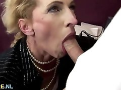 Furry brown-haired mature gets anal creampied